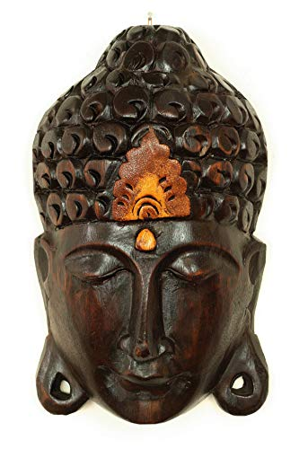 G6 Collection Wooden Wall Mask Serene Buddha Head Black Statue Hand Carved Sculpture Handmade Figurine Decorative Home Decor Accent Rustic Handcrafted Art Wall Hanging Decoration