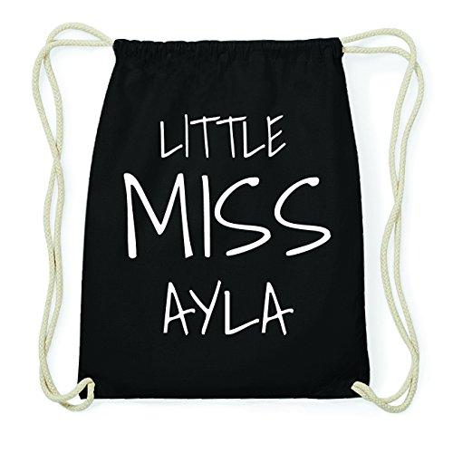 JOllify AYLA Hipster Turnbeutel Tasche Rucksack aus Baumwolle - Farbe: schwarz Design: Little Miss LQzaB