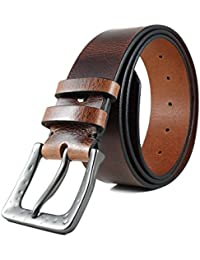 """Men's Hand-Crafted Brown Genuine Leather Belt """"Bruce"""" [1,57"""" wide]"""