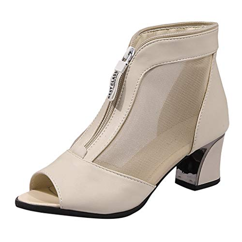 (Tantisy ♣↭♣ Women's Fashion Perspective Sandals/Fish Mouth Block Zipper Roman Shoes/Leather Block Chunky Heel 6cm/2.4'' Beige)