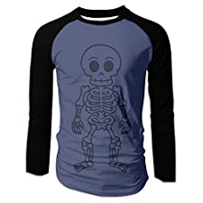 Diosehuts Men's Skull Funny Cartoon Man Skeleton Vector Cotton Long Sleeve Raglan T-Shirts