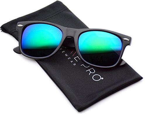 WearMe Pro - Horn Rimmed Sunglasses Revo Large Mirror Lens - Men Mirror For Sunglasses