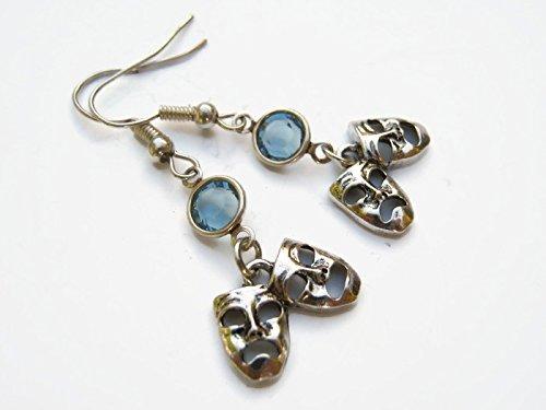 (Comedy Tragedy Mask Birthstone Earrings, Personalized Theatre Earrings, Drama Earrings, Theater Actor Jewelry)