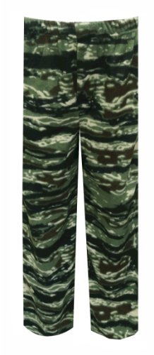 Olive Green Tiger Camo Fleece Lounge Pants for men (Medium)