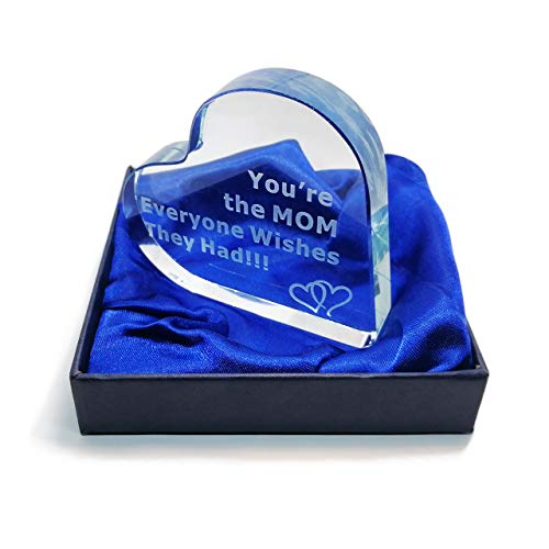 Gift for Mom You're The MOM Everyone Wishes They Had Engraved Glass Heart Presents for Mom Christmas Mothers Day Birthday Best from Son Daughter Husband Crystal Sentimental Saying