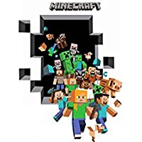 """Gaming 3D Poster """"Friends Breaking Through"""" Wall Sticker for Kid Room Decoration Mural Mine Craft Vinyl House Sticker…"""