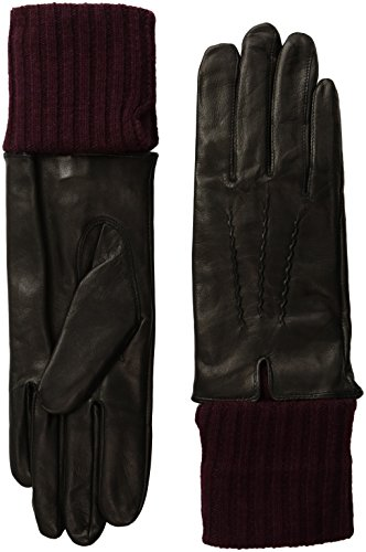 SOIA & KYO Women's Carmel-F6 Leather Glove with Fold-Over Rib Knit Sleeve, Black/Grape, Medium