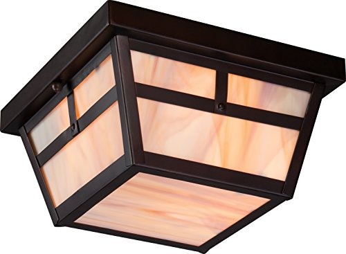 6 Tanner Flush 2 Light 60-watt A19 Outdoor Close To Ceiling Porch and Patio Lighting with Honey Stained Glass, Claret Bronze (Mission Bronze Ceiling Fixture)