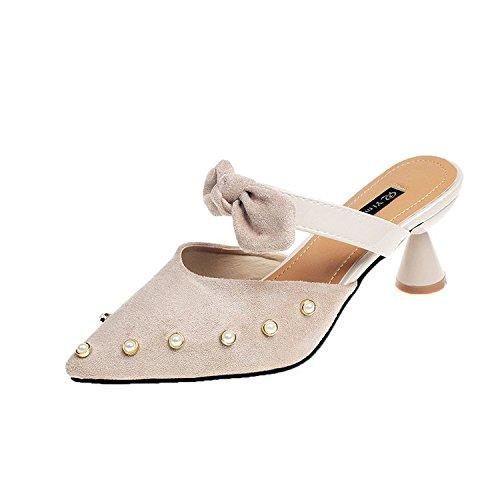 Femmes Yalanshop Rivets Daim Cool Pantoufles Chaussures Noeud Pour Carrs Blanc Et Riz Baotou Papillon qHPdZwt