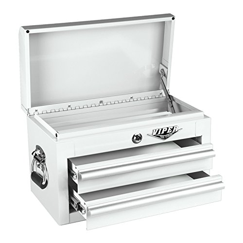 Viper Tool Storage V218MCWH 18-Inch 2-Drawer 18G Steel Mini Storage Chest w/ Lid Compartment, White
