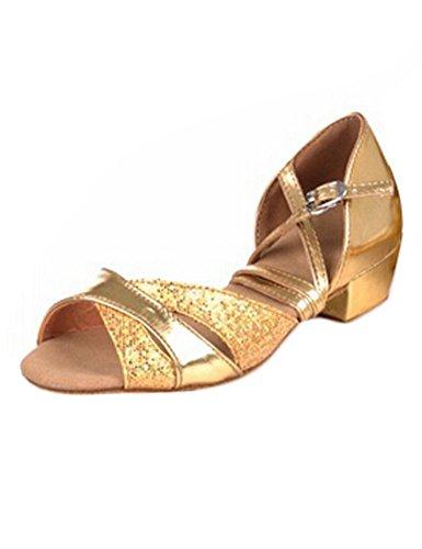 Eden Babe Girl's Glitter Ballroom Tango Dance Shoes(Little Kid 10.5M,Gold 24)
