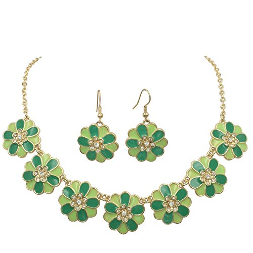 (7 Daisy Flower with Rhinestones Cluster Gold Tone Boutique Statement Necklace & Earrings Set (Lime & Kelly Green))
