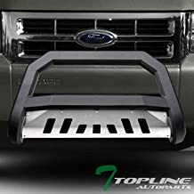 Topline Autopart Matte Black AVT Style Bull Bar Brush Push Front Bumper Grill Grille Guard With Aluminum Skid Plate For 08-12 Ford Escape ; 08-11 Mazda Tribute ; Mercury Mariner ; 06-10 Mountaineer