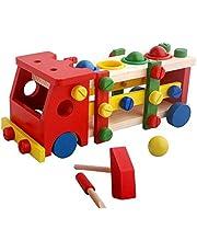 لعبة تركيب سيارة مع كرات ومطرقة للاطفال، متعددة الالوان