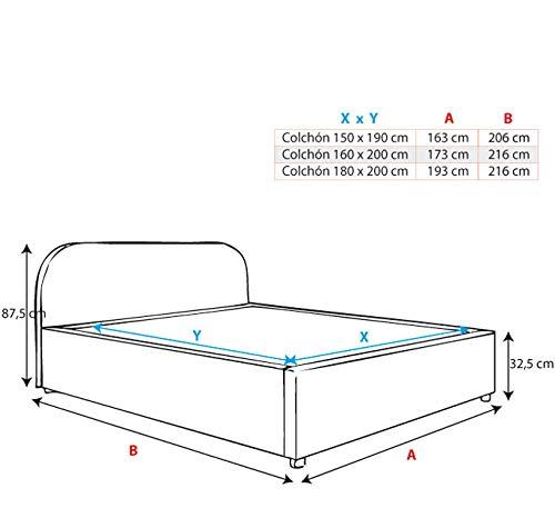 muebles bonitos Cama de Matrimonio con canapé Lexy en Color Negro (160x200cm): Amazon.es: Hogar