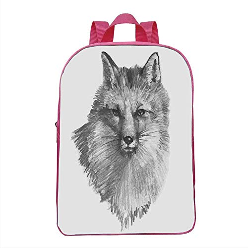 Fox Fashionable Backpack,Sketchy Fox Portrait Hunting Predator Vixen Vulpine Nature Inspired Hand Drawing Decorative for School Travel,One_Size