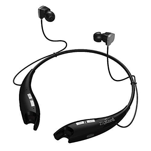ZipKord Soundz Pro - Premium - Bluetooth Neck Wrap Stereo Headset - Black - Magnetic Earbuds - CVC 6.0 Noise-Reduction - Lightweight Design