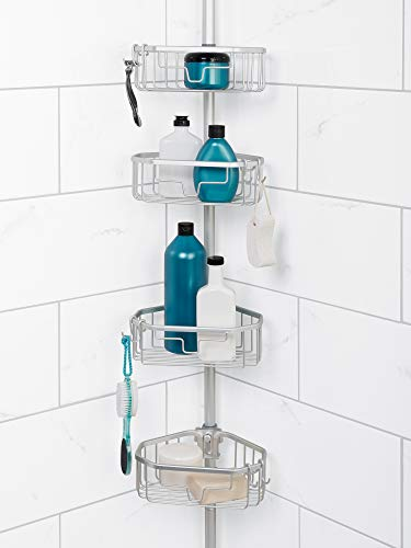 Zenna Home Tension Pole Shower Caddy, Satin Chrome