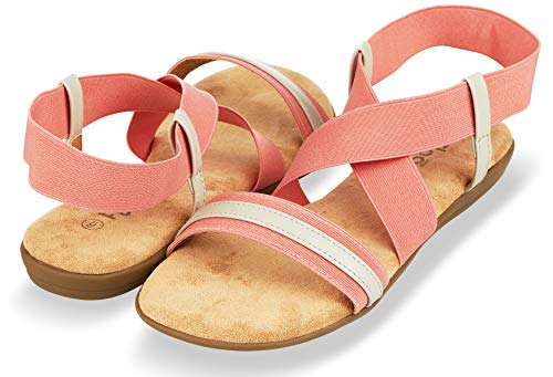 Floopi Sandals for Women Open Toe, Gladiator Design Summer Sandals   Comfy, Elastic Ankle Strap W/Flat Sole & Memory Foam Insole for Extra Comfort   0.625