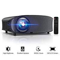 """GBTIGER 4000 Lumens Projector, Video Projector 200"""" LCD Home Theater Projector Full HD Support 1080P HDMI VGA AV USB MicroSD for Home Entertainment, Movie Party and Games"""