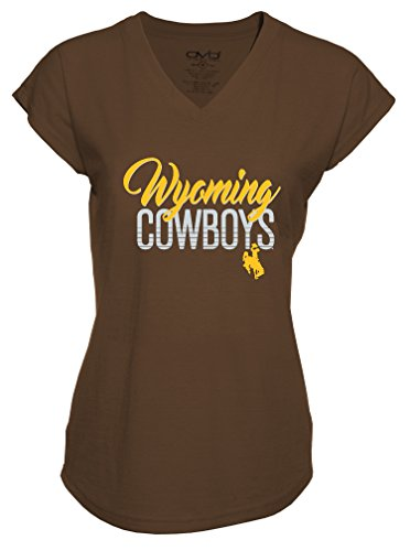 T-shirt V-neck Womens Cowboy (NCAA Wyoming Cowboys Ladies Tri-Blend V-Neck T-Shirt, X-Large, Brown)
