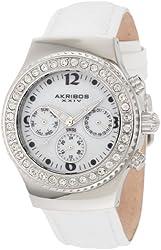 Akribos XXIV Women's AKR449W Ultimate Swiss Chrono White Watch