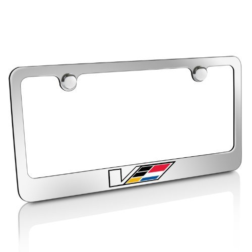 Cadillac V Logo Chrome Solid Brass License Frame