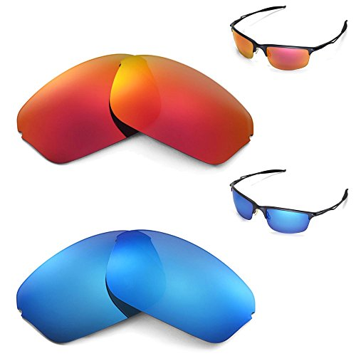 fcd6333e66 New Walleva Polarized Ice Blue + Fire Red Lenses For Oakley Half Wire 2.0 -  Buy Online in Oman.