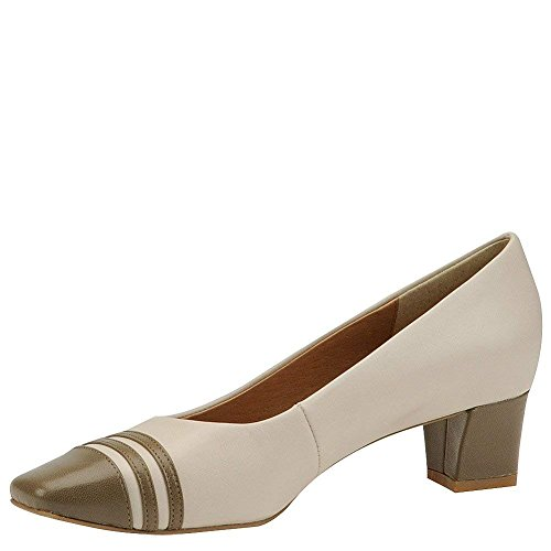 (Auditions Womens Classy Leather Square Toe Classic Pumps, Bone-Taupe, Size)