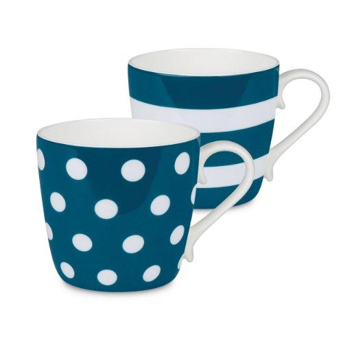 Konitz Turquoise Dots and Stripes Mugs, Set of 2