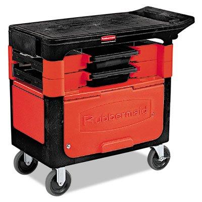 (Rubbermaid 618088BLA Locking Trades Cart, 330-lb Cap, Two-Shelf, 19-1/4w x 38d x 33-3/8h, Black)