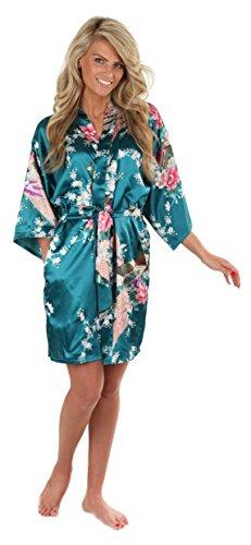 VEAMI Women's Kimono Robe, Peacock Design-Teal-Small/Medium, Short
