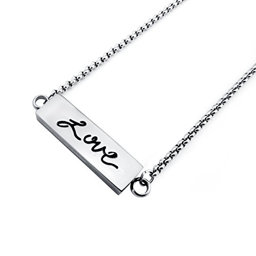 ZhenPing Jewelry Aroma Essential Oil Engraved My Hero Stainless Steel Bar Locket PendantZhenPing Jewelry Aroma Essential Oil Engraved Love Stainless Steel Bar Locket Pendant (Love)