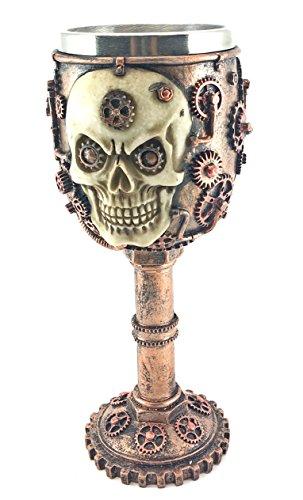 (Bellaa 20966 Wine Goblet Chalice Gear Steampunk Head Skull 7oz)