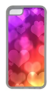 Apple iPhone 5C Case Cover - Colored Heart-Shaped Background Image Custom PC Case Cover For iPhone 5C - Tranparent