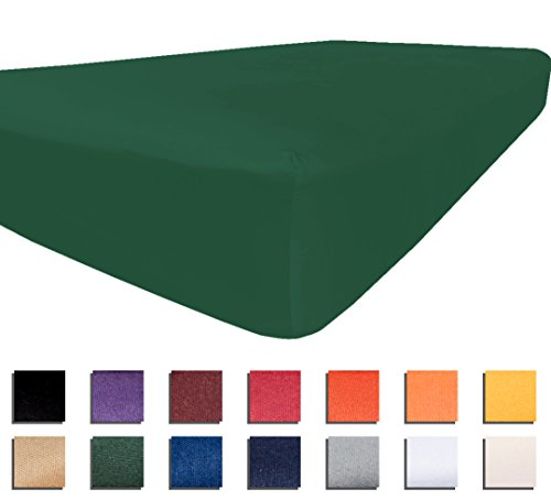 American Pillowcase Twin XL Fitted Sheet 100% Brushed Microfiber Bed Sheets - Hypoallergenic and Ultra Soft - College Color Dorm Bedding - Wrinkle, Stain, and Fade Resistant - Green College Green