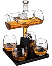 Sailfish Whiskey Decanter Dispenser and 4 Liquor Glasses - Whisky Decanter & Glass Set - Fishing Gifts for Men - Whiskey Decanter Set - Bourbon & Scotch Decanter for Alcohol - Fisherman Gifts for Dad