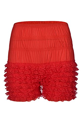 Women's Lace Ruffle Bloomers Sexy Dance Short Slips Red