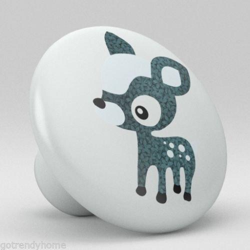 Cute Blue Polka Dot Deer Ceramic Knobs Nursery Pulls Kitchen Drawer Dresser 1090 by gotrendyhome