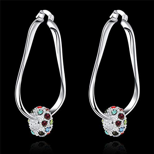 (1set Fashion Wedding Party Crystal 925 Sterling Silver Charms Women Earring Jewelry)