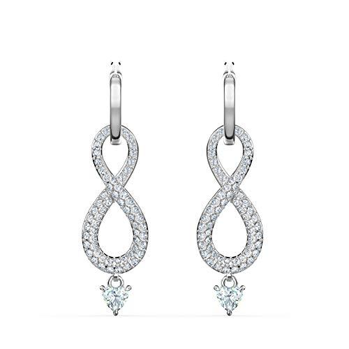 SWAROVSKI Women's Infinity Pierced Earrings, White, Rhodium plated