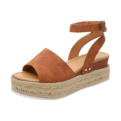 HIFUAR Women's Espadrille Sandal Platform Wedge Halter Ankle Strap Open Toe Faux Leather Studded Wedge Summer Sandals Brown US 8