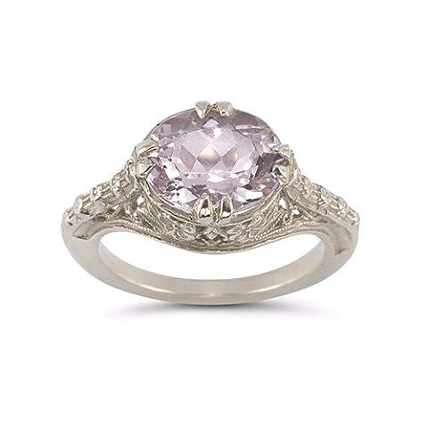 Vintage Rose Kunzite Ring in 14K White Gold (Kunzite Rings In White Gold)