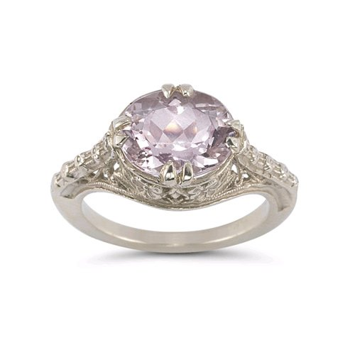 Vintage Rose Kunzite Ring in .925 Sterling (Kunzite Ring)