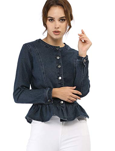 (Allegra K Women's Peplum Button Down Cropped Ruffle Hem Denim Jackets Blue M (US 10))
