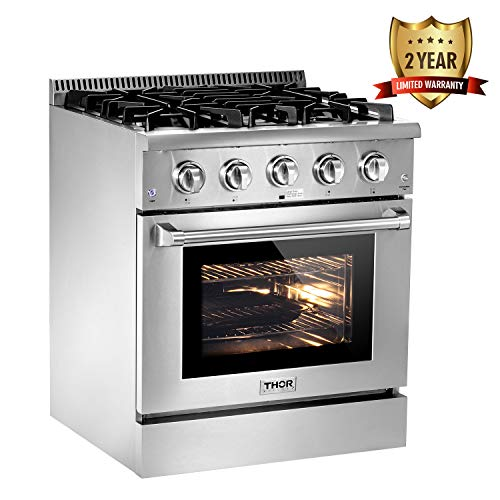 Thor Kitchen Silver 30'' Gas Range with 4.2 cu.ft Gas Convection Oven in Stainless Steel - 4 Burners - 2-Years-Warranty - With LP Conversion Kit