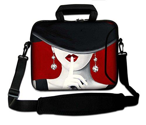 """10""""-17.6"""" Pulgadas Bolso de hombro con diseño, Funda con Bandolera en Neopreno para Ordenador Portátil. Muchos diseños y tamaños disponibles!!! (Part 2 of 2) Labios rojos & diamantes"""