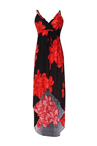 2LUV Women's Floral Design Sleeveless Hi-Low Summer Beach Dress Black XXL (3153-Black)