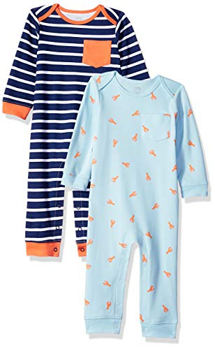 Amazon Essentials Baby 2-Pack Coverall, Boy Lobster, 0-3M -