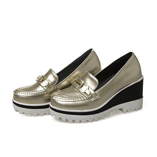 Toe Korkokengät Kierroksella kengät Naisten Vedä Suljettu Metallikappale Pumput Solid Kultaa Weenfashion nAcpHP7WP